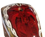 Custom painted chopper tank candy apple red airbrushed skulls tribal
