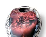 Custom painted sports bike tank silver airbrushed celtic knot pattern candy apple red dragon