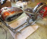 Custom painted HD Harley Davidson bobber tank silver airbrushed filigree