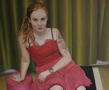 OIL PAINTING pink dress